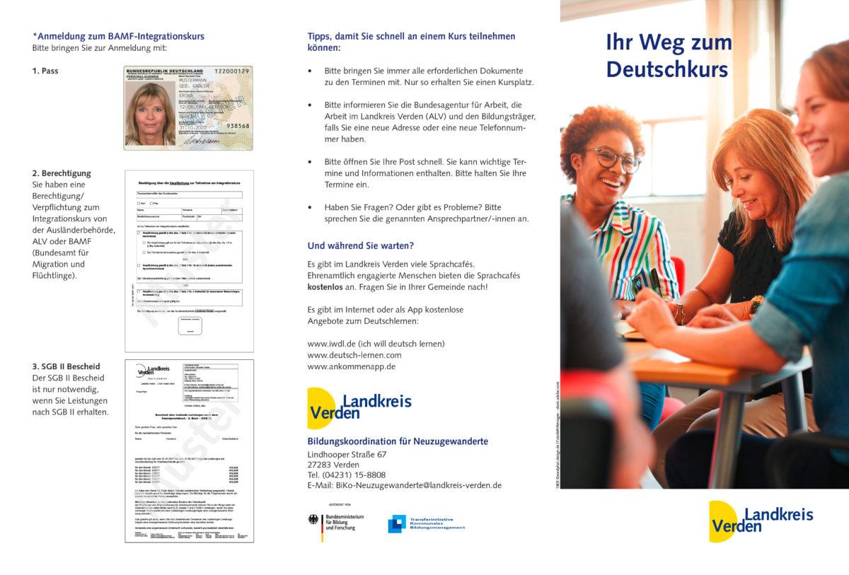 Flyer mit dem Titel Ihr Weg zum Deutsch-Kurs im Landkreis Verden